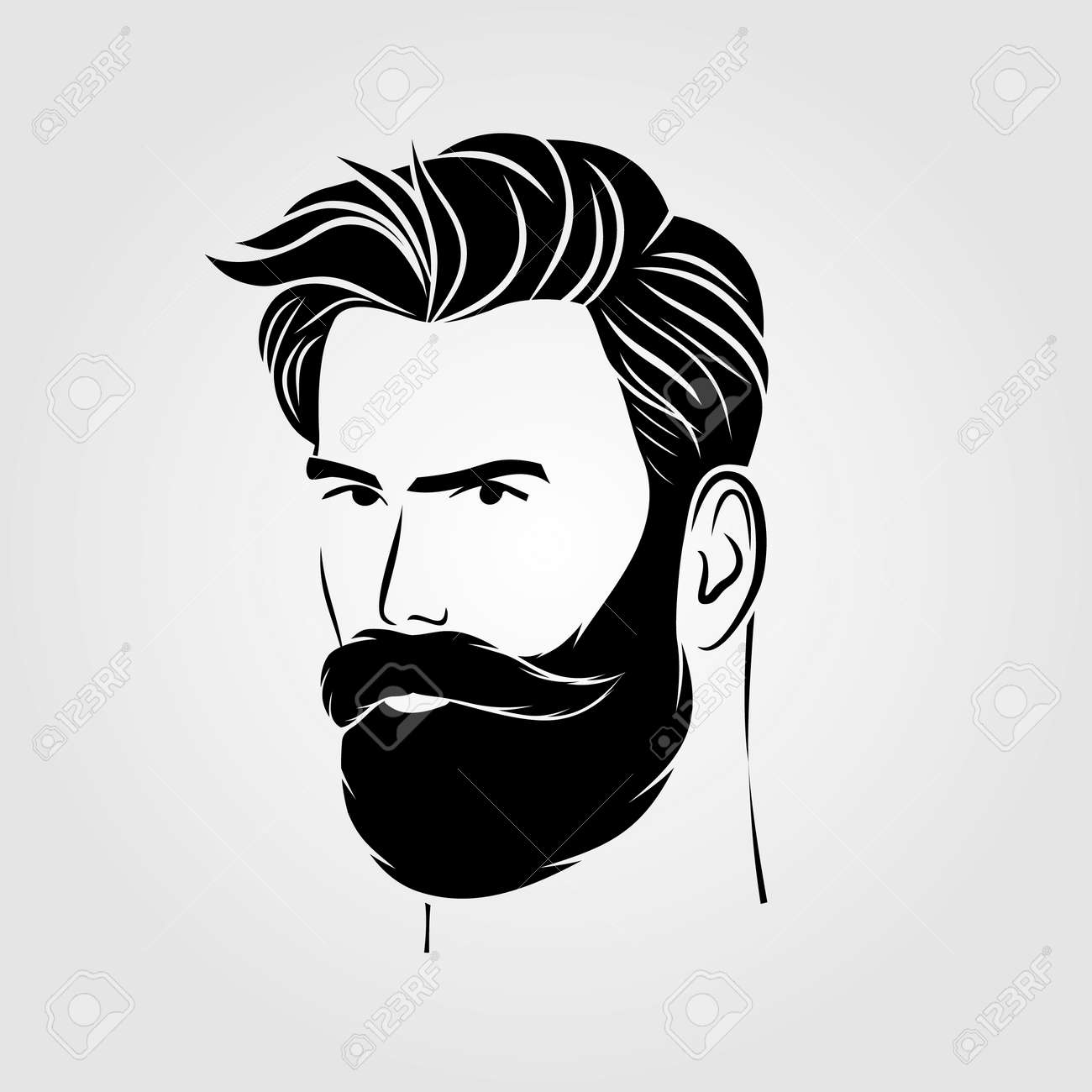 Bearded men, hipster face icon isolated. Vector - 169447754
