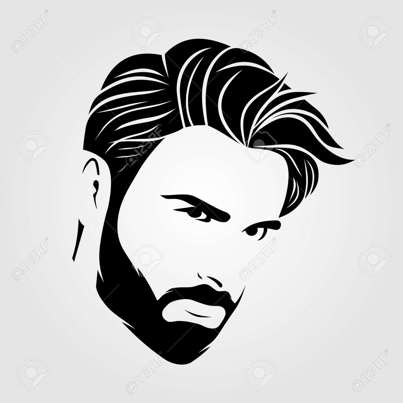 Bearded men, hipster face icon isolated. Vector - 169447762