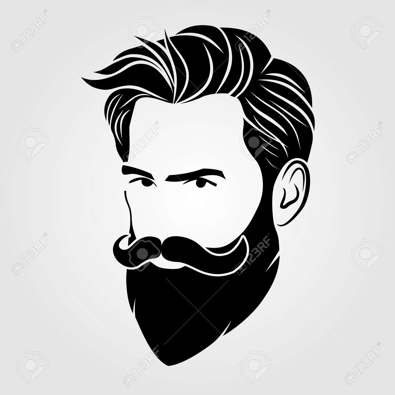 Bearded men, hipster face icon isolated. Vector - 169447759
