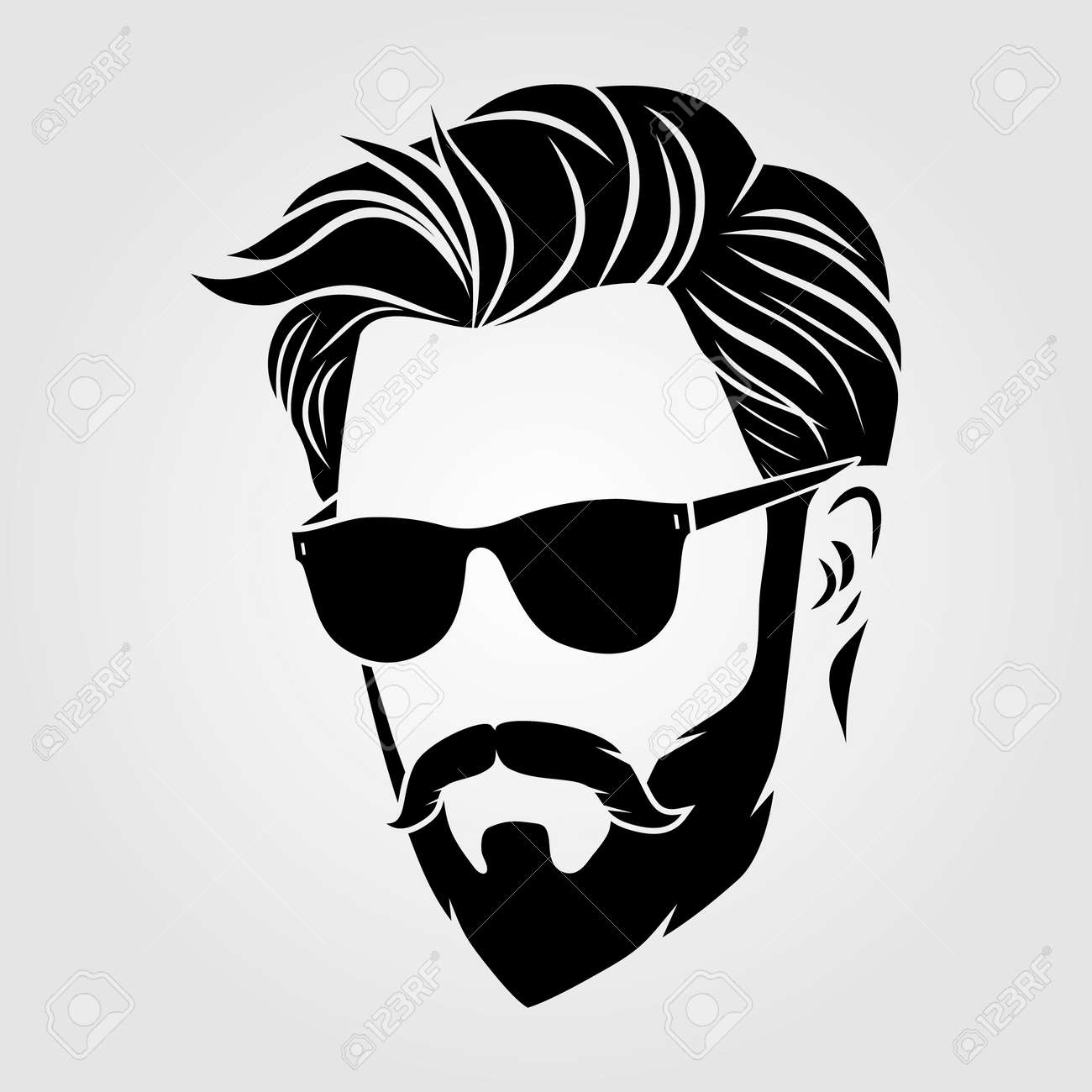 Bearded men in sunglasses, hipster face icon - 169447760