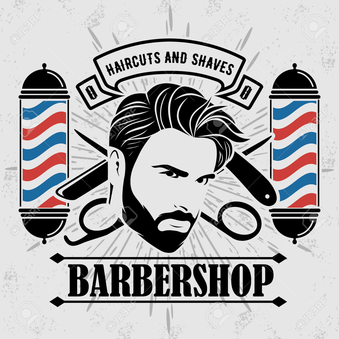 Barber shop poster template with Bearded men - 169447761