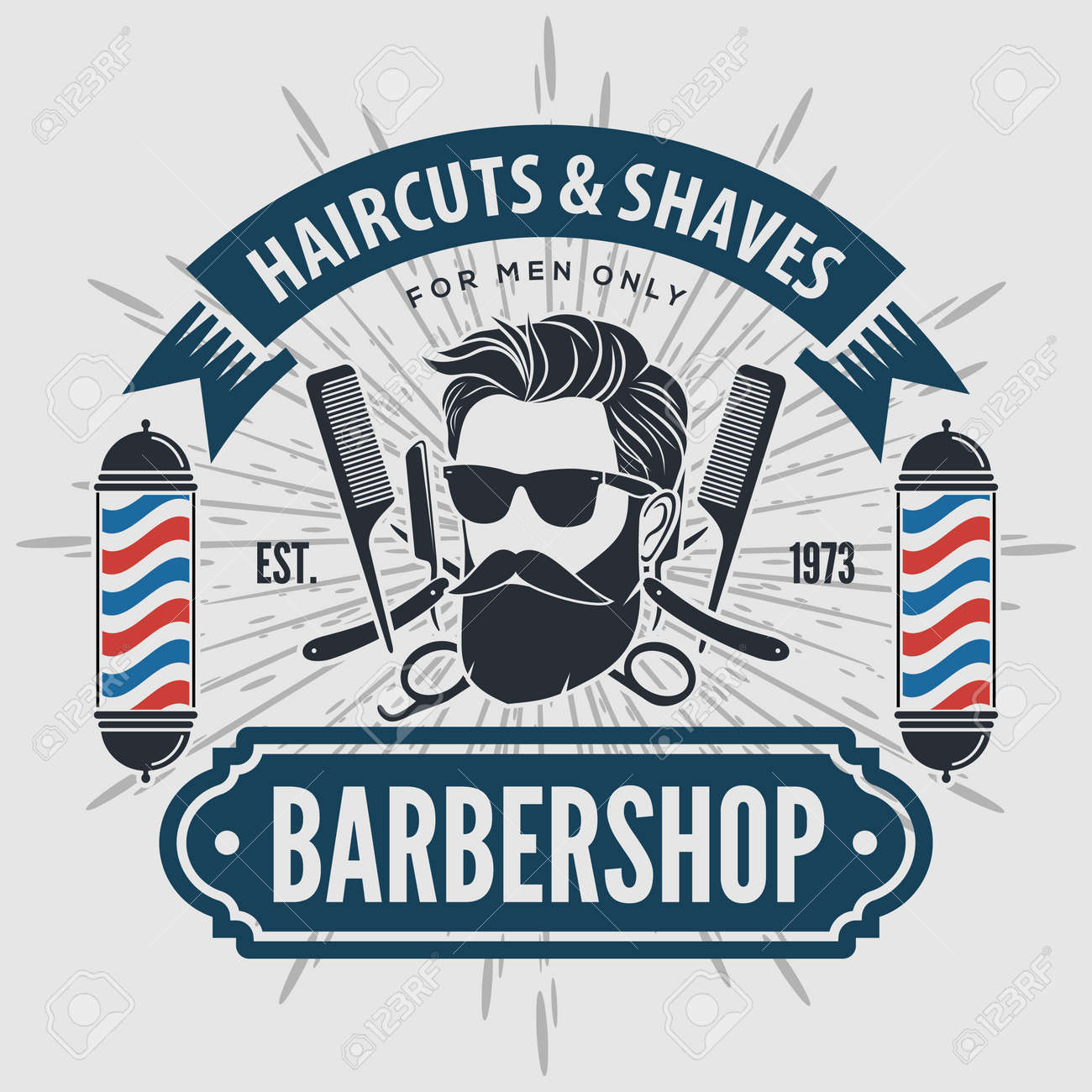 Barber shop poster template with Bearded men - 169500873