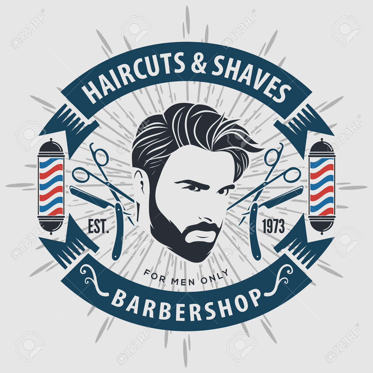 Barber shop poster template with Bearded men - 169500874