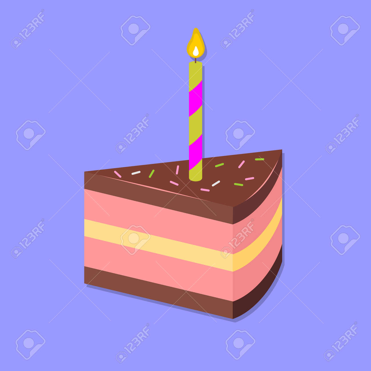 Slice of cake isolated. Flat style vector . - 170425528