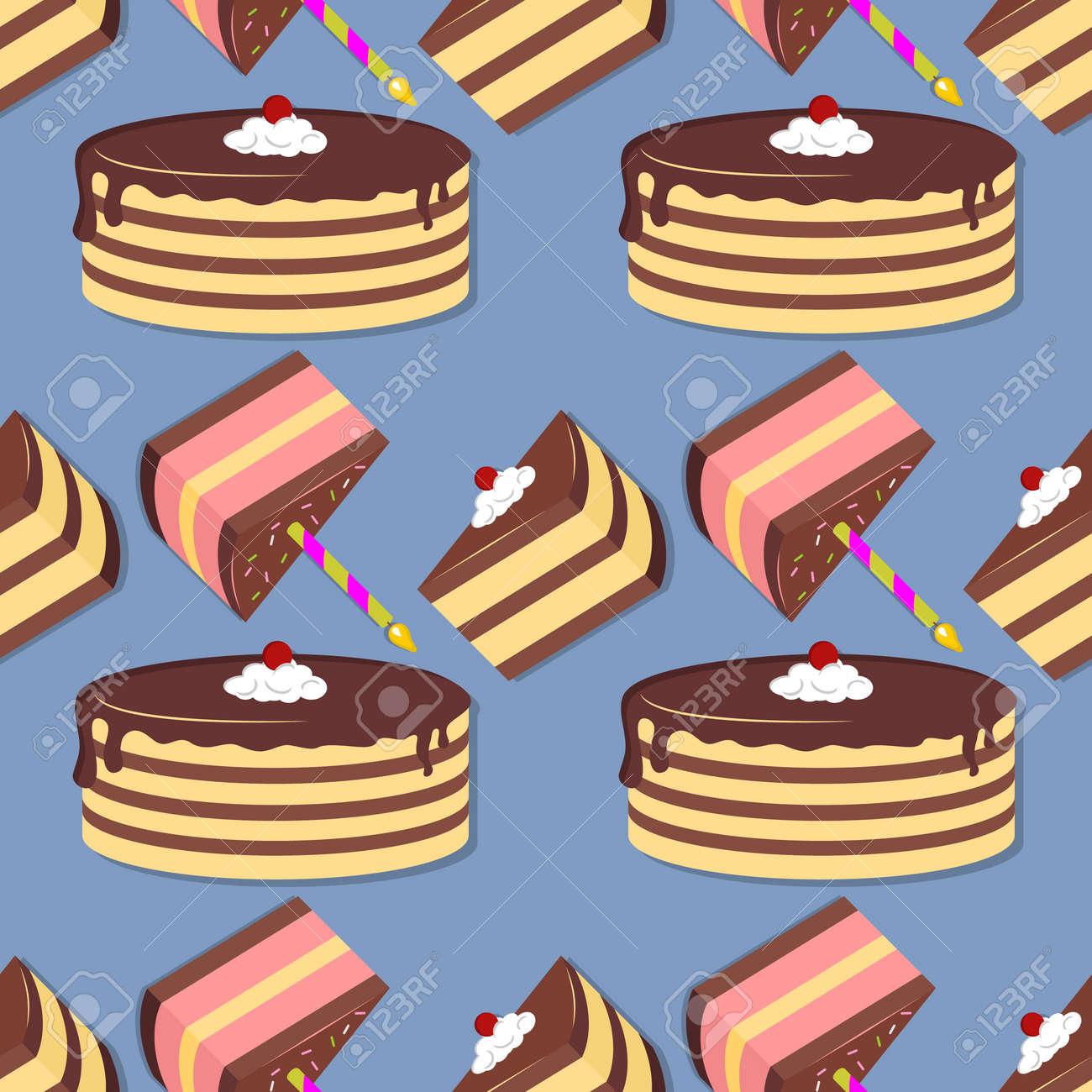 Cake seamless pattern. Flat style vector illustration - 171099094