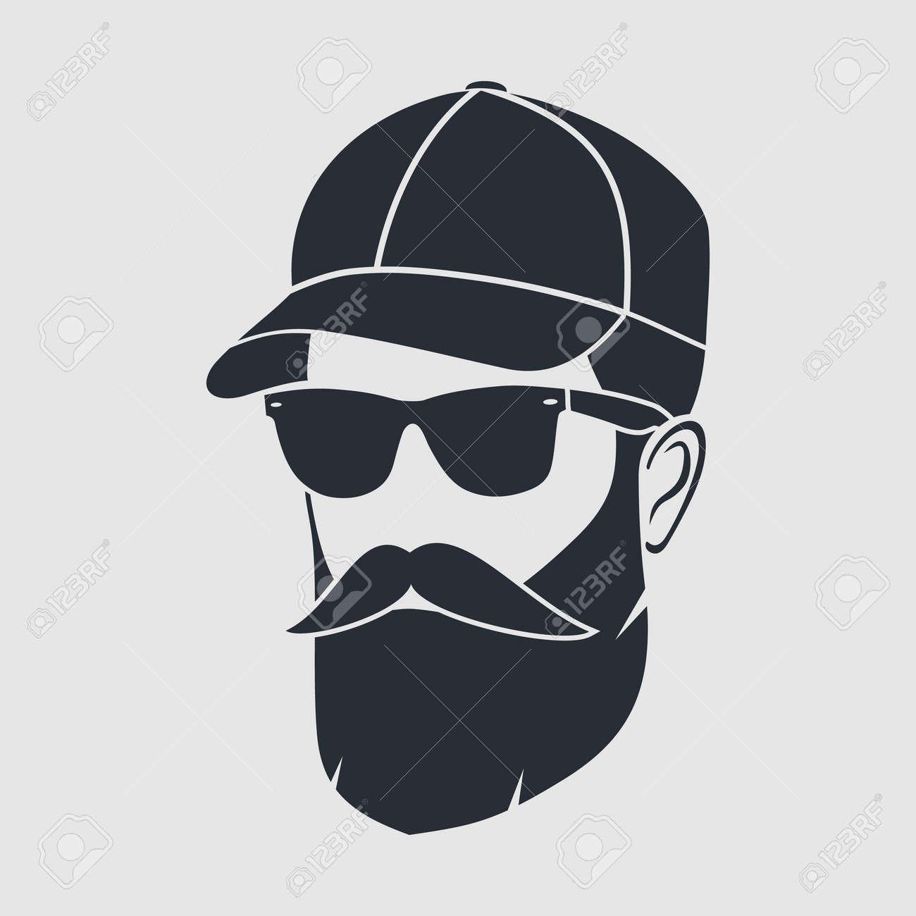 Bearded men in a baseball cap. Hipster face icon - 171378359