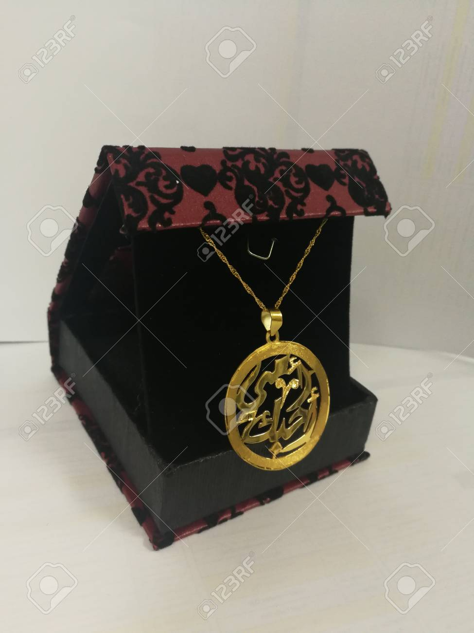 Gold Necklace for Mother's day in Arabic word I LOVE YOU MOTHER