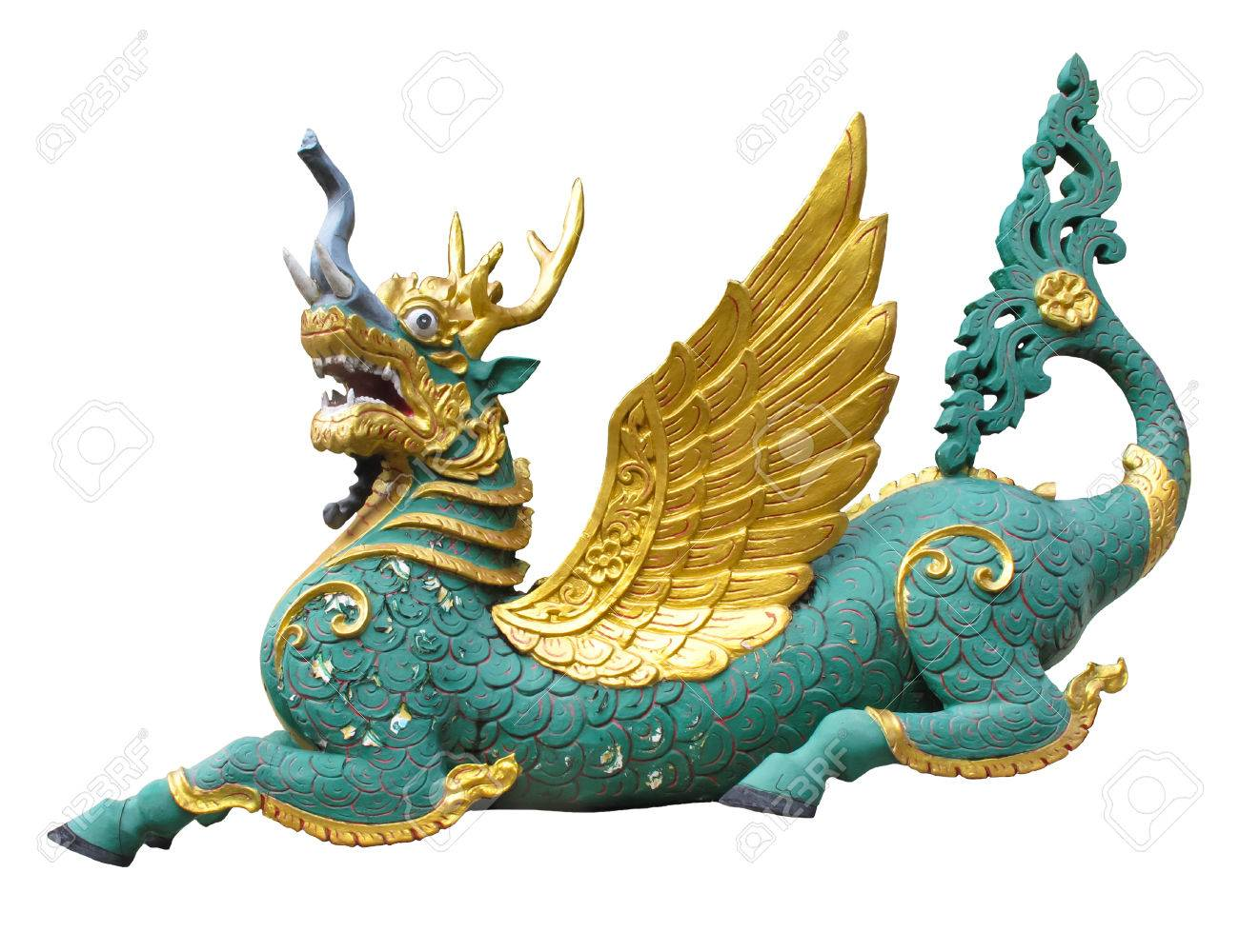 A colorful funny dragon the animals in Thai literature or fantasy story, part of body from each animals  elephant, deer, horse,fish, bird Stock Photo - 23307592