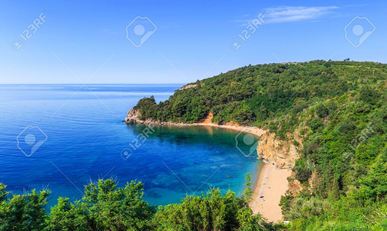 view from above on adriatic sea coastline and mogren beach at