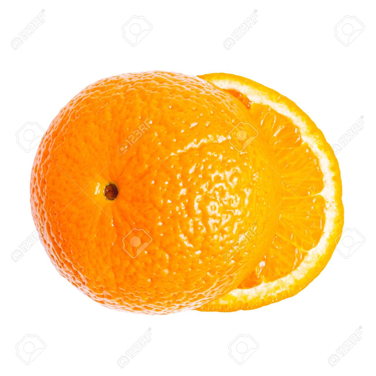 Cut orange fruit, sliced round halves of citrus isolated on white background, top view, flat lay. - 137346412