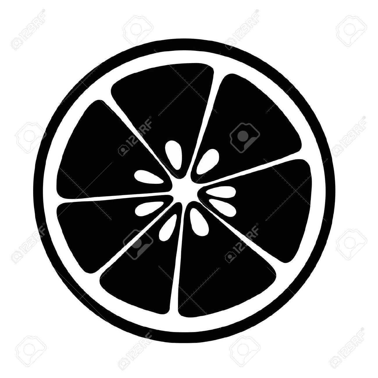 Citrus Slices Lemon Lime And Grapefruit Black Isolated On White Background Stock Vector