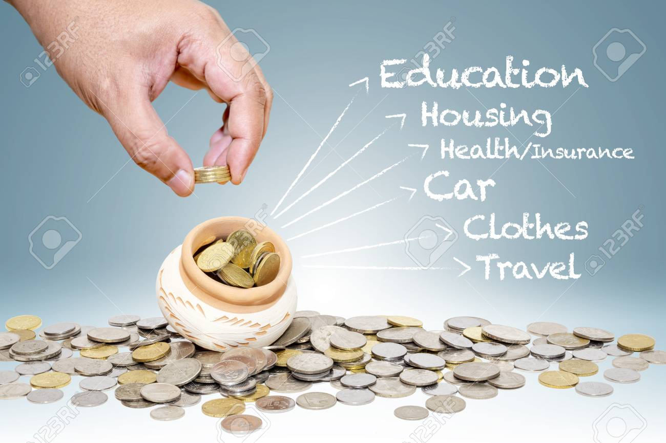 personal money saving planning info concept coins putting into
