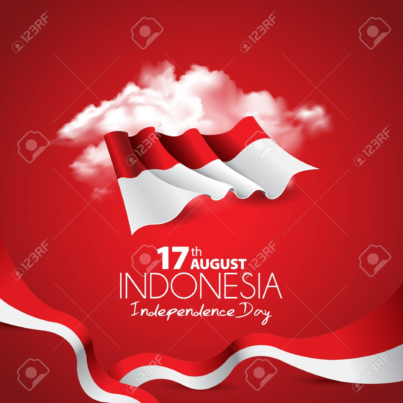 Vector red color Flat design, Illustration of flag. 17th August Indonesia Independence Day concept. - 105628997