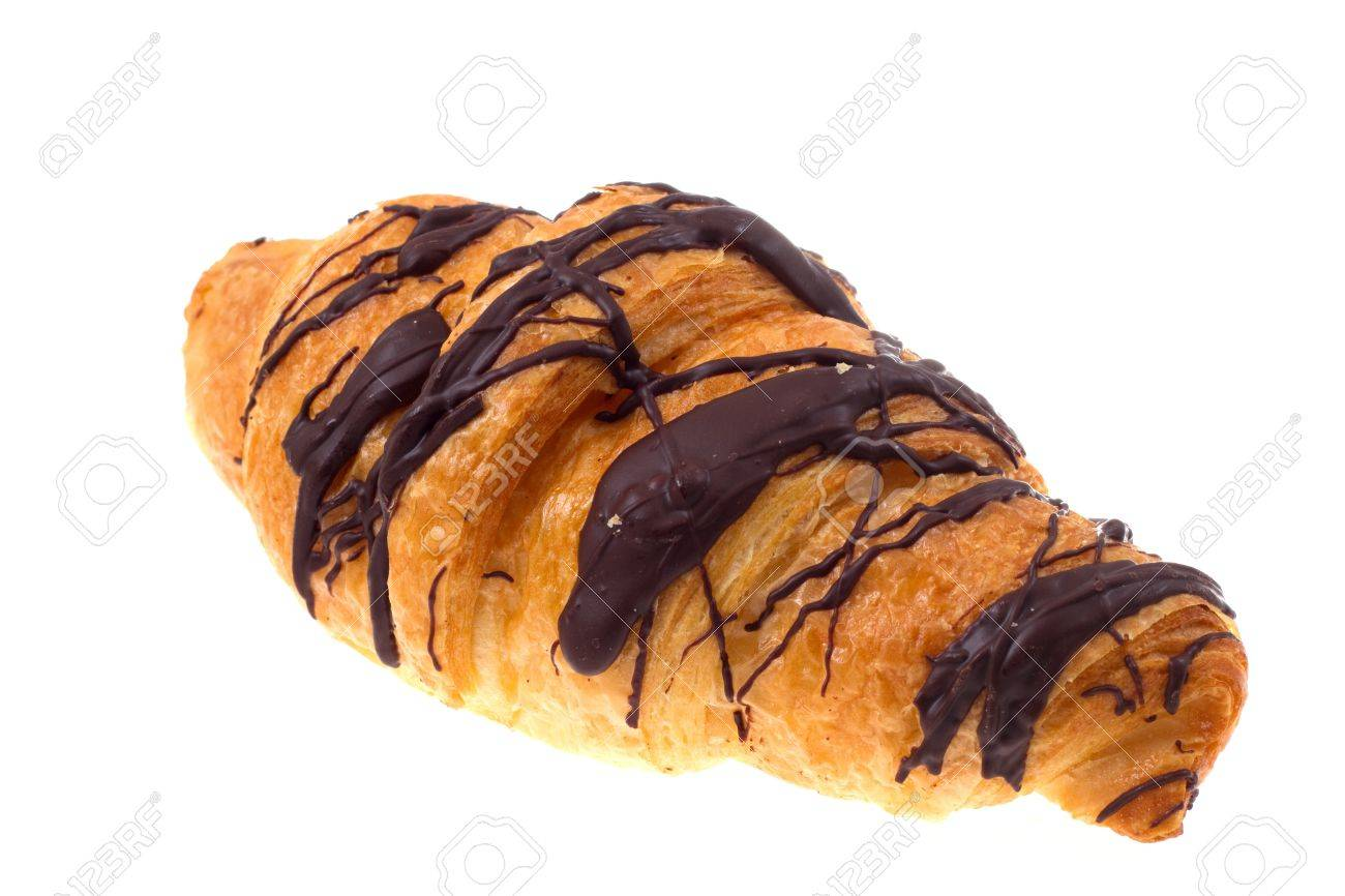 Chocolate Croissant Isolated On A White Stock Photo, Picture And ...