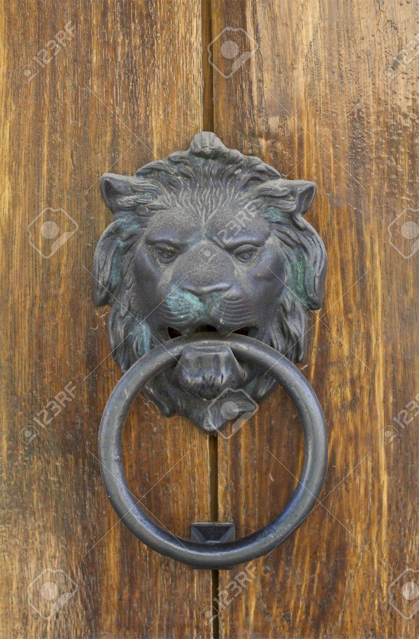 Lionu0027s Head Door Knocker Stock Photo   8073821