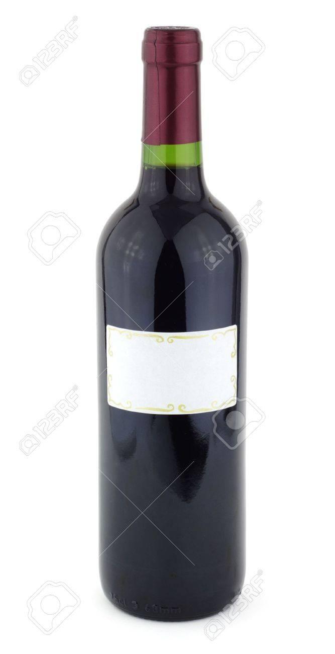Bouteille De Vin Rouge Avec Tiquette Blanche Banque D Images Et