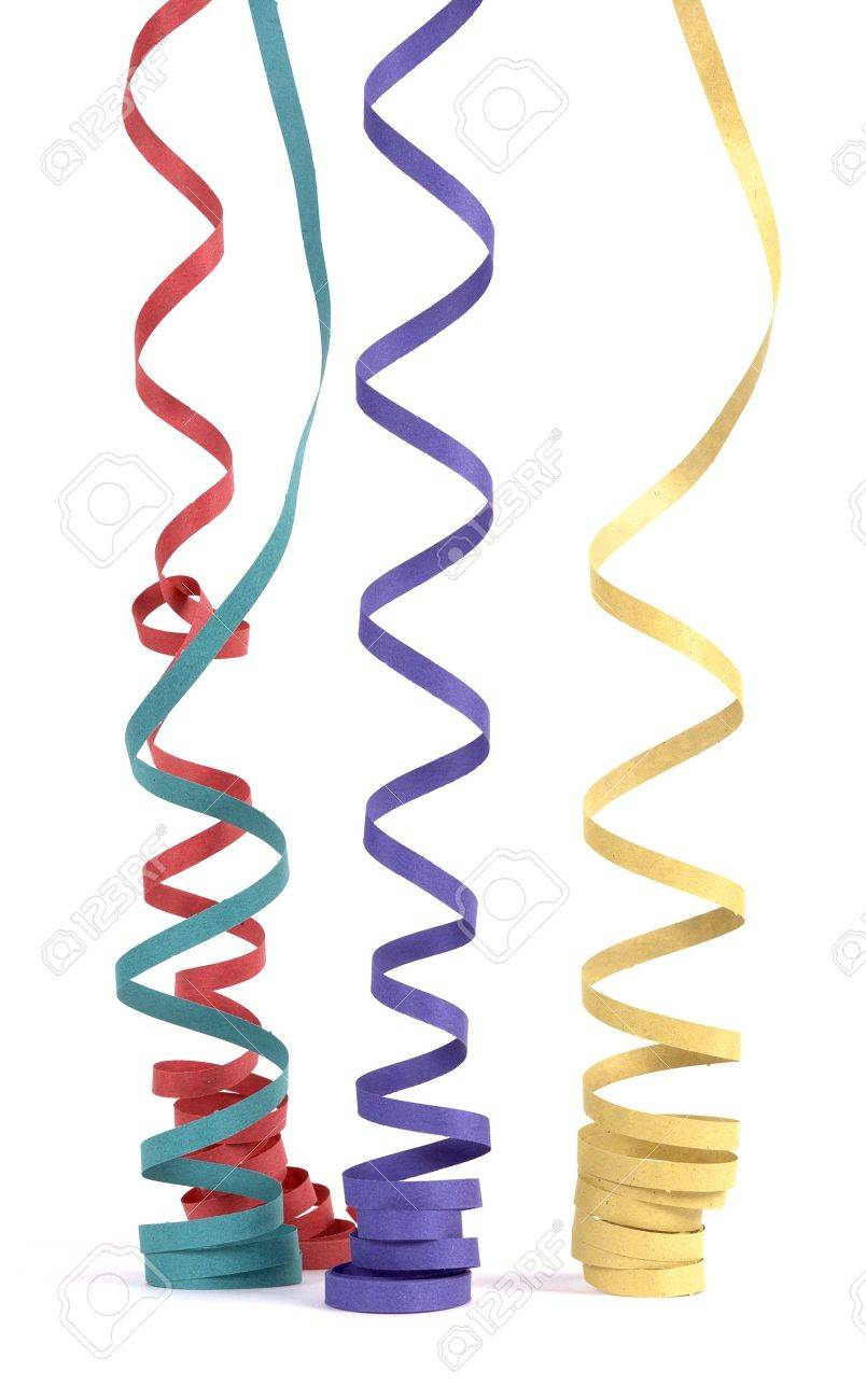 Serpentines in various colors fall vertically - 6658805