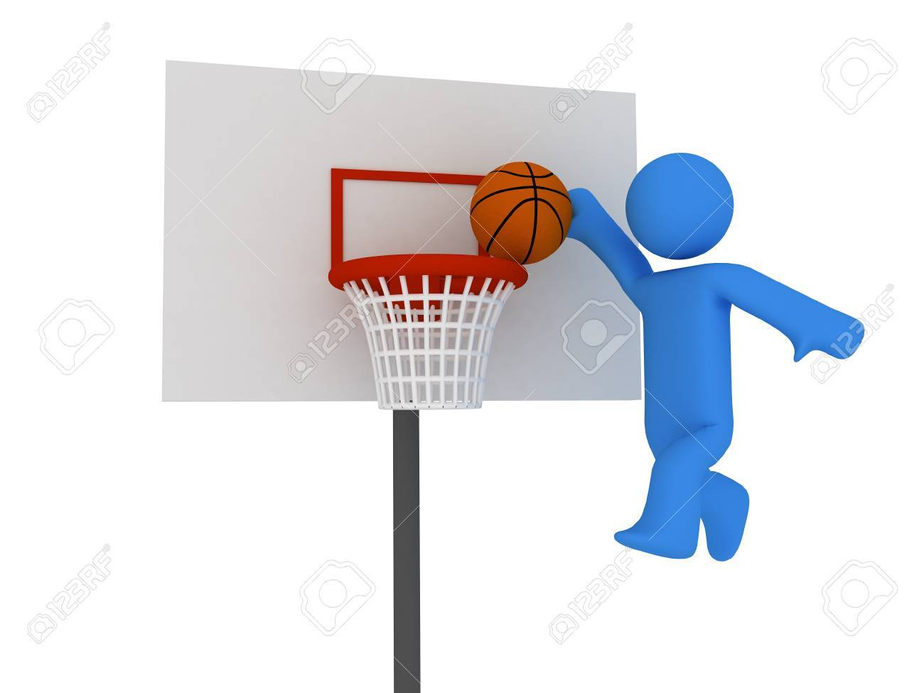 3d basketball player trying to made slam dunk Stock Photo - 4463808