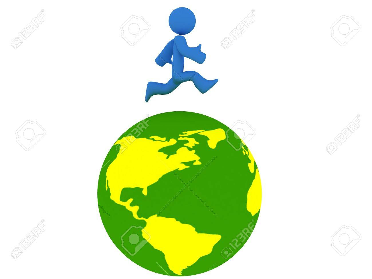 rotating 3d globe animation with running person stock photo picture