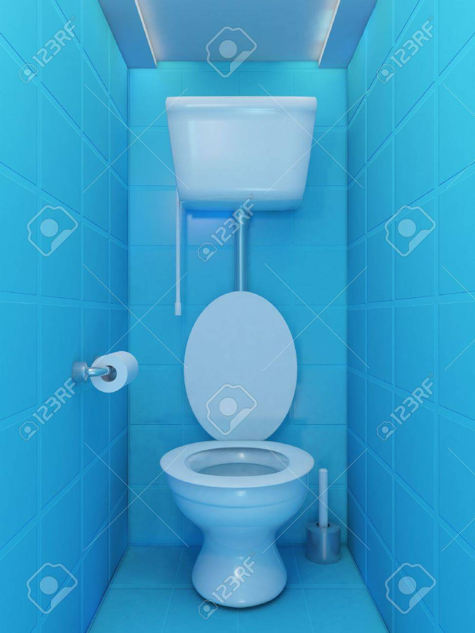 Interior Of Toilet Room In Blue Colors Stock Photo Picture And Royalty Free Image Image 10025148