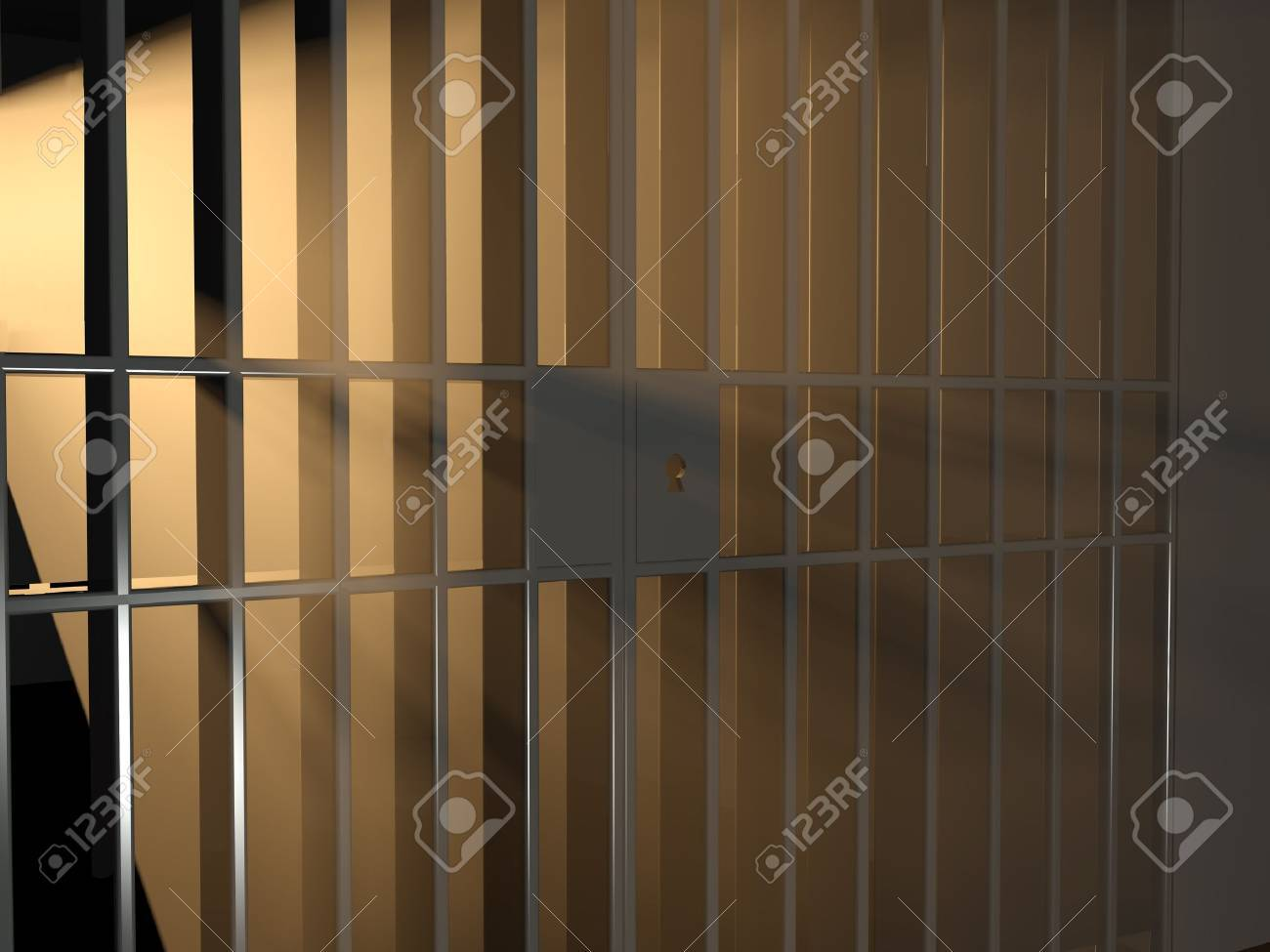 3d illustration of sunlight and cage. Freedom concept. Stock Illustration - 10312541