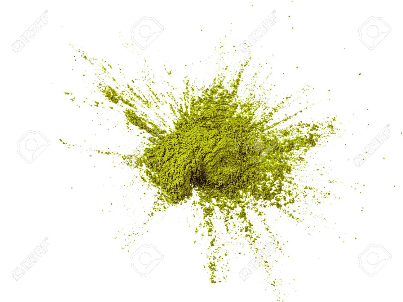 Green matcha tea powder on white background. Powdered maccha tea explosion, isolated on white with clipping path. Top view or flat lay. - 142361845