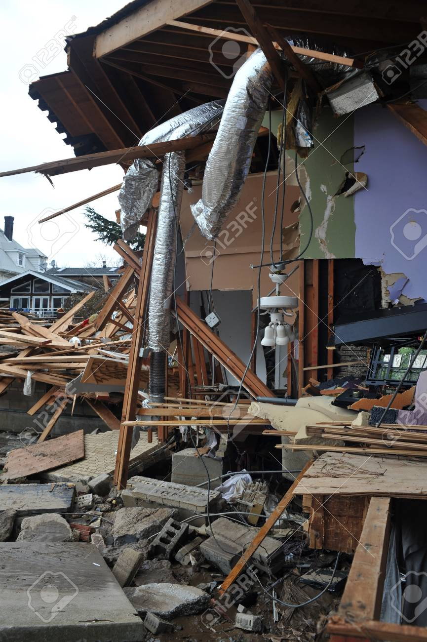 BROOKLYN, NY - NOVEMBER 01: Serious damage in the buildings at the Seagate neighborhood due to impact from Hurricane Sandy in Brooklyn, New York, U.S., on Thursday, November 01, 2012. Stock Photo - 16816788