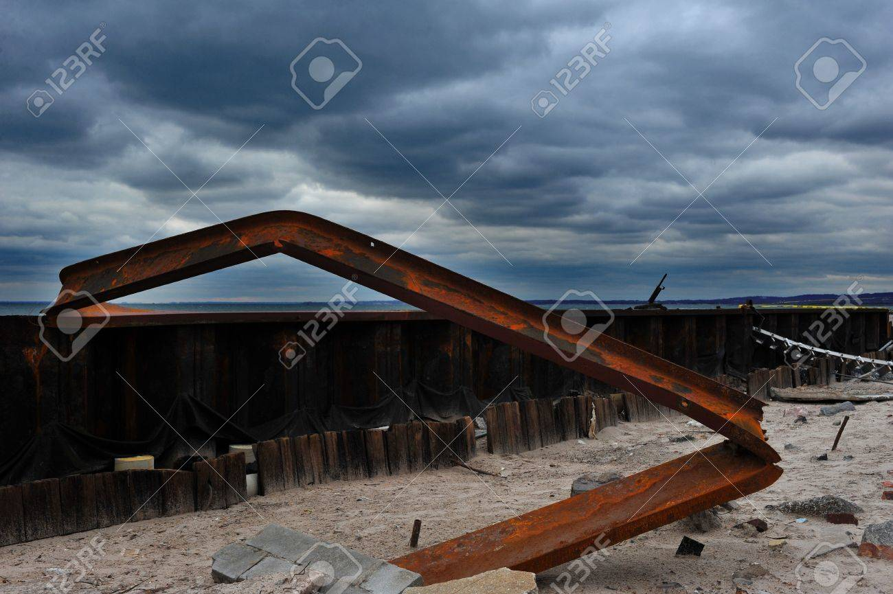 BROOKLYN, NY - NOVEMBER 01: Serious damage in the metal construction of  buildings at the Seagate neighborhood due to impact from Hurricane Sandy in Brooklyn, New York, U.S., on Thursday, November 01, 2012.  