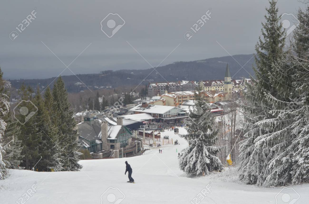 view to ski resort slopes at stratton, vermont stock photo, picture