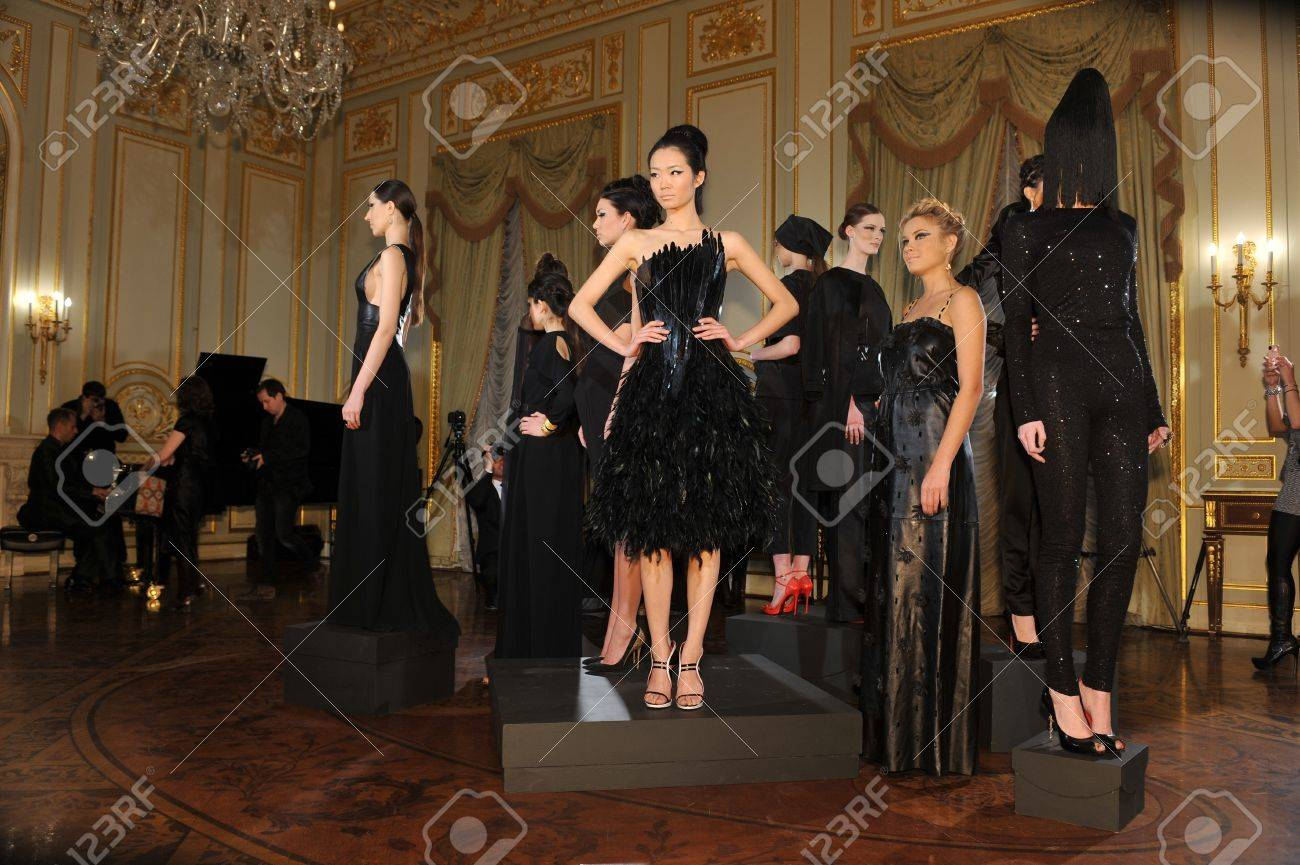 NEW YORK - FEBRUARY 06: Models poses at static presentation for