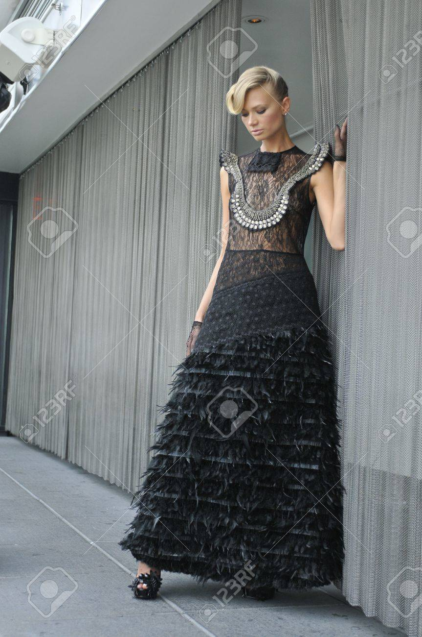 Black gloves for gown - Fashion Model Wearing Long Couture Black Dress And Gloves Stock Photo 18333962