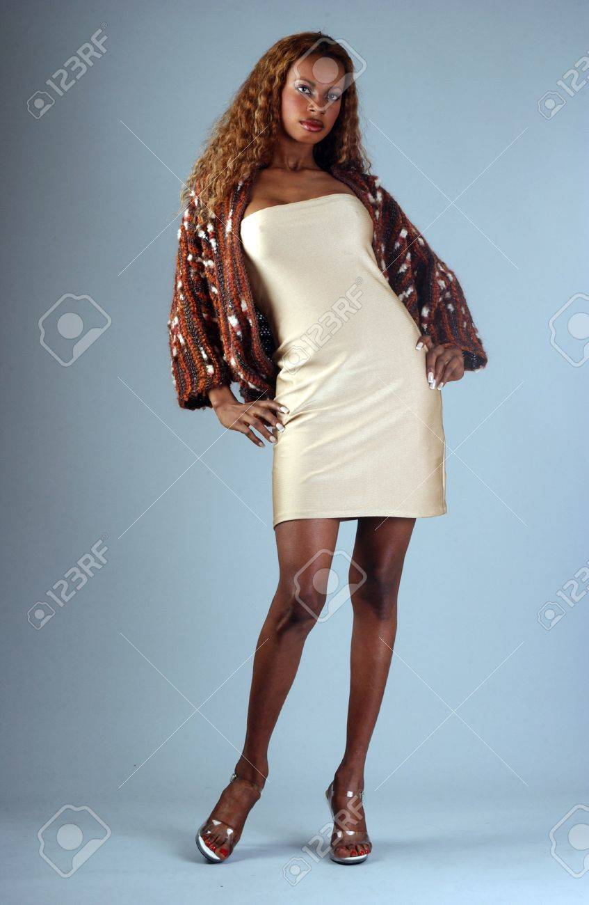 eb8f80cc1f7 Beautiful African American model posing wearing fashionable dresses Stock  Photo - 18419951