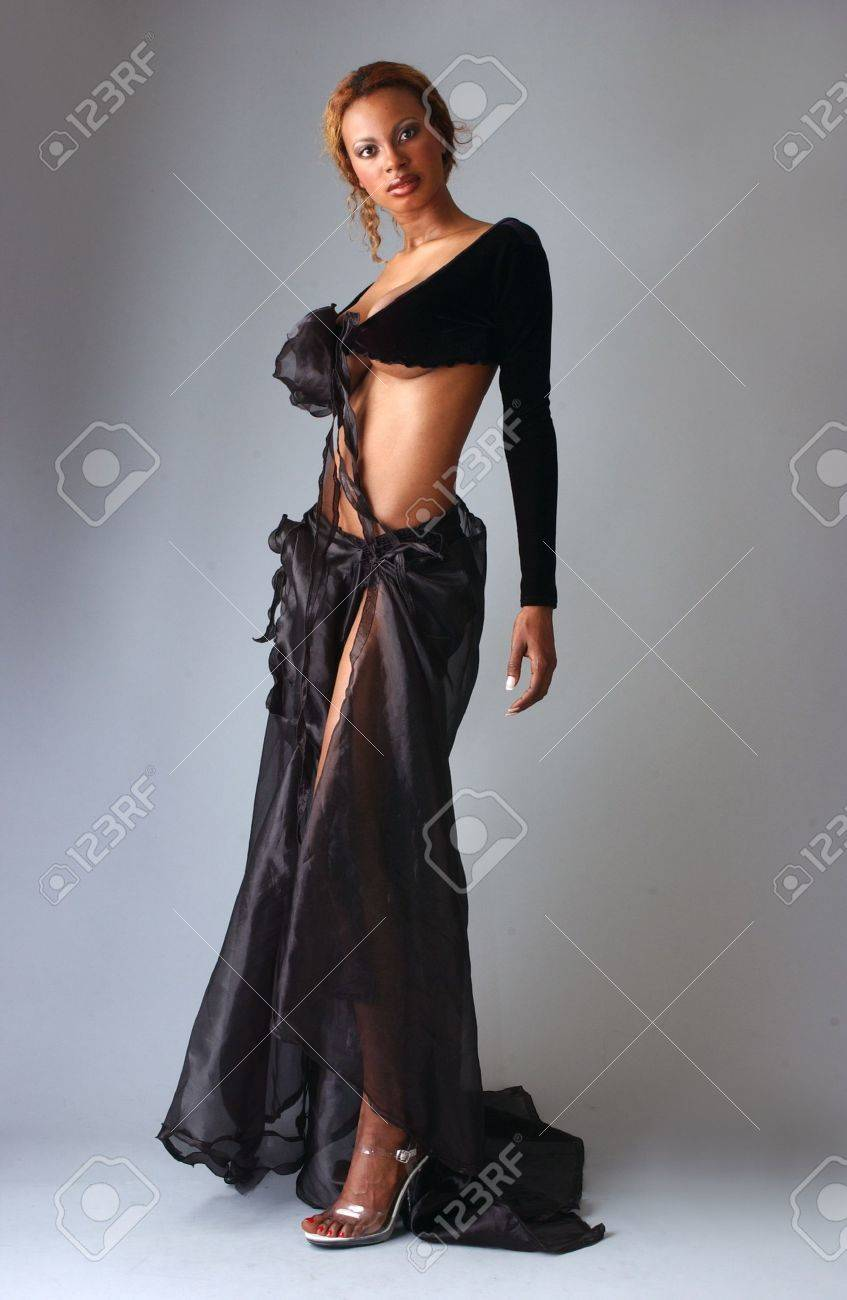eb890c5e17e Beautiful African American model posing wearing fashionable dresses Stock  Photo - 18394836