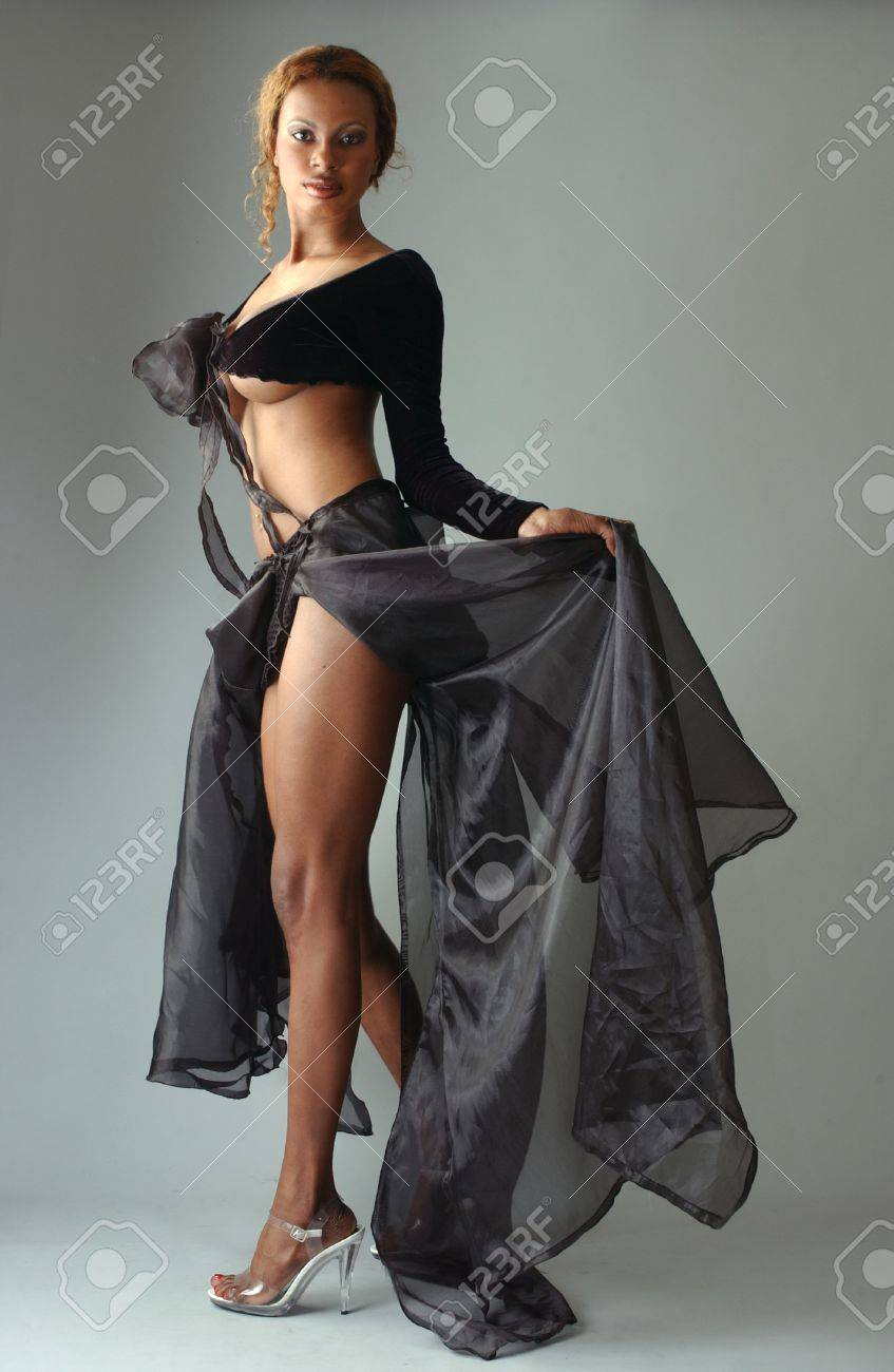 3fe05a38646 Beautiful African American model posing wearing fashionable dresses Stock  Photo - 18419897