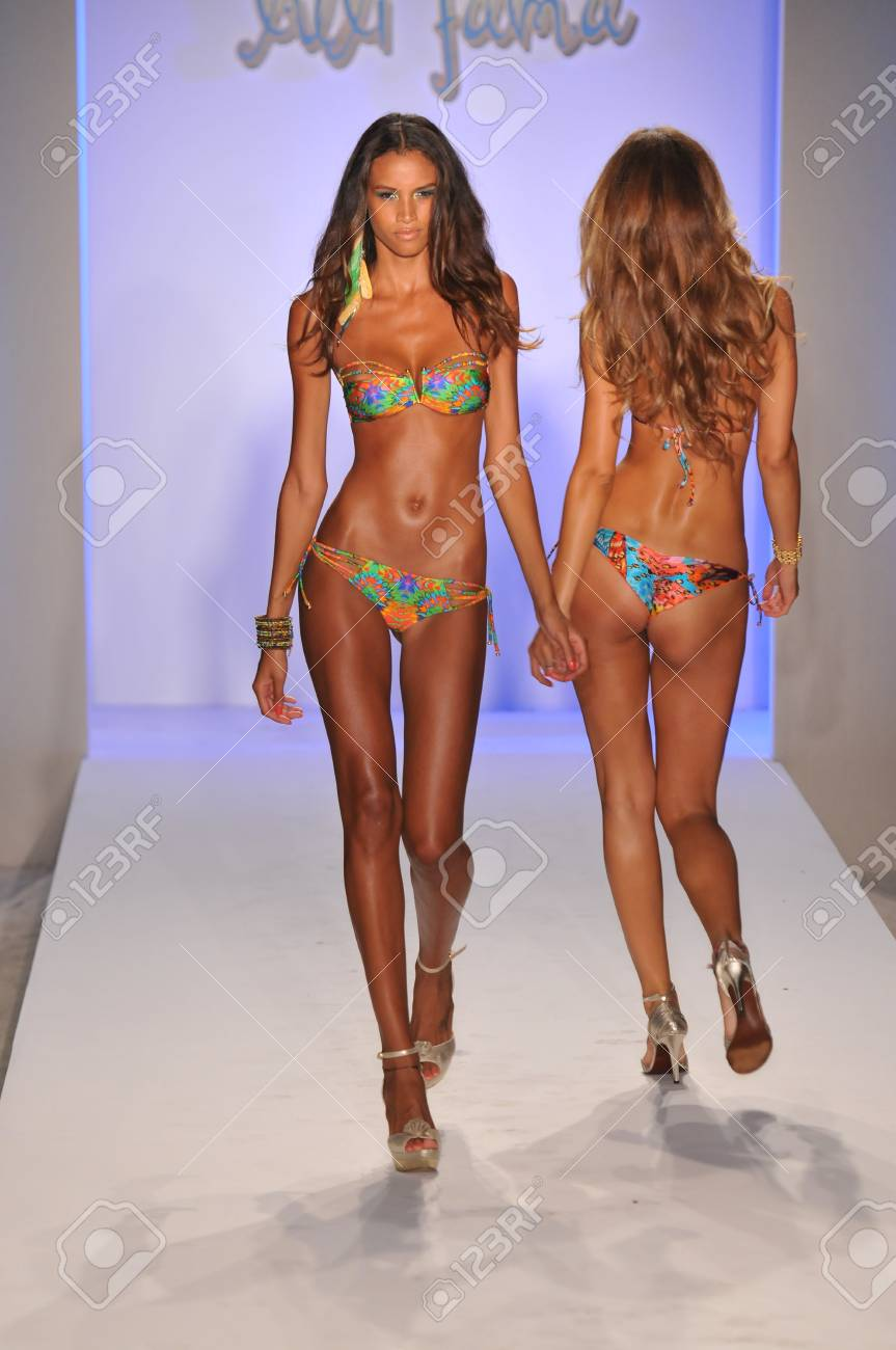 MIAMI - JULY 17: Model walking runway at the Luli Fama Collection for Spring/ Summer 2012 during Mercedes-Benz Swim Fashion Week on July 17, 2011 in Miami, FL Stock Photo - 19170813