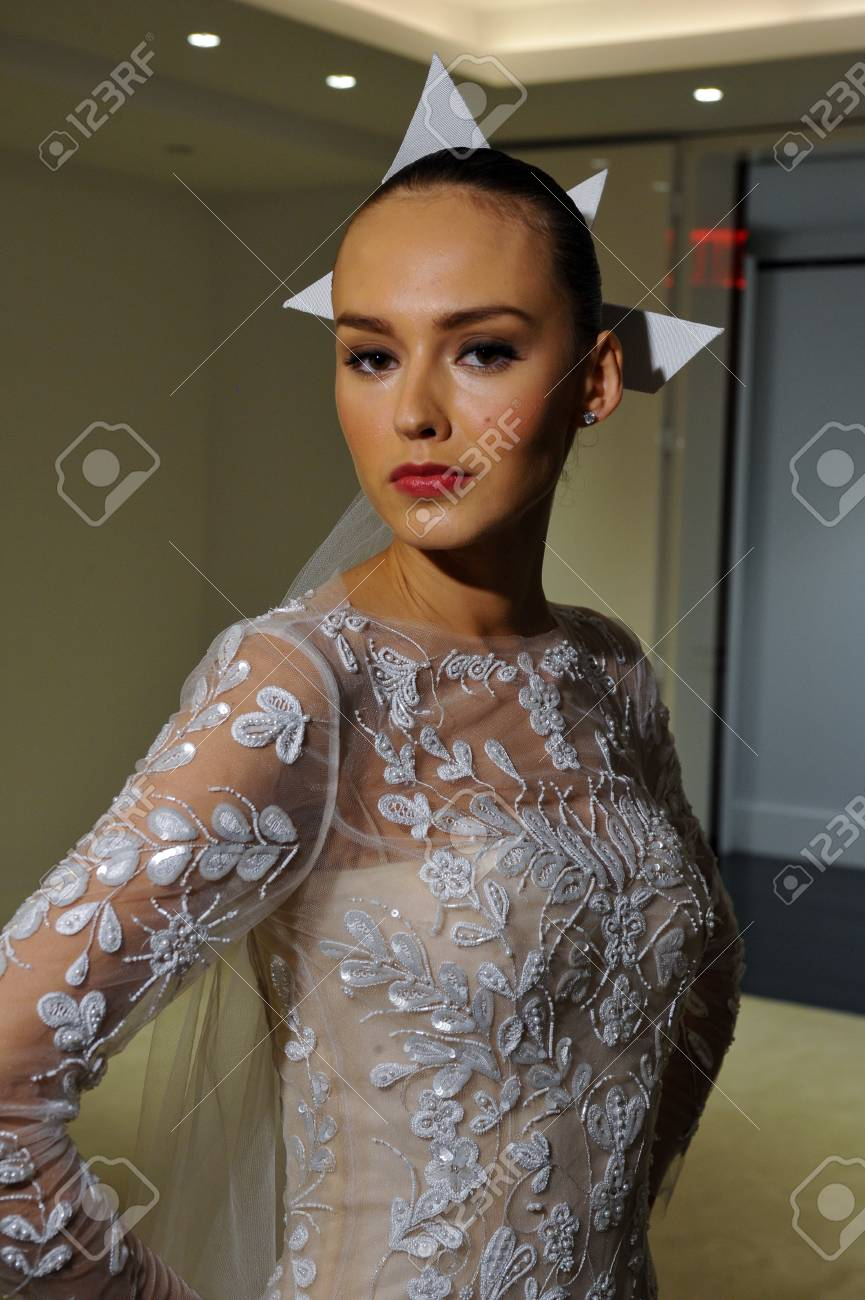 NEW YORK, NY - OCTOBER 13: Model makes informal modeling at the