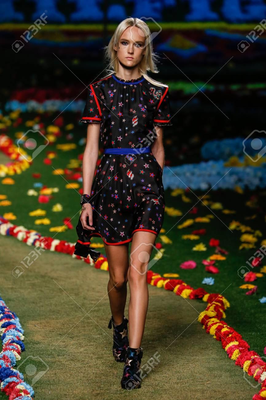 04987ddad406 NEW YORK, NY - SEPTEMBER 08: A model walks the runway at Tommy Hilfiger
