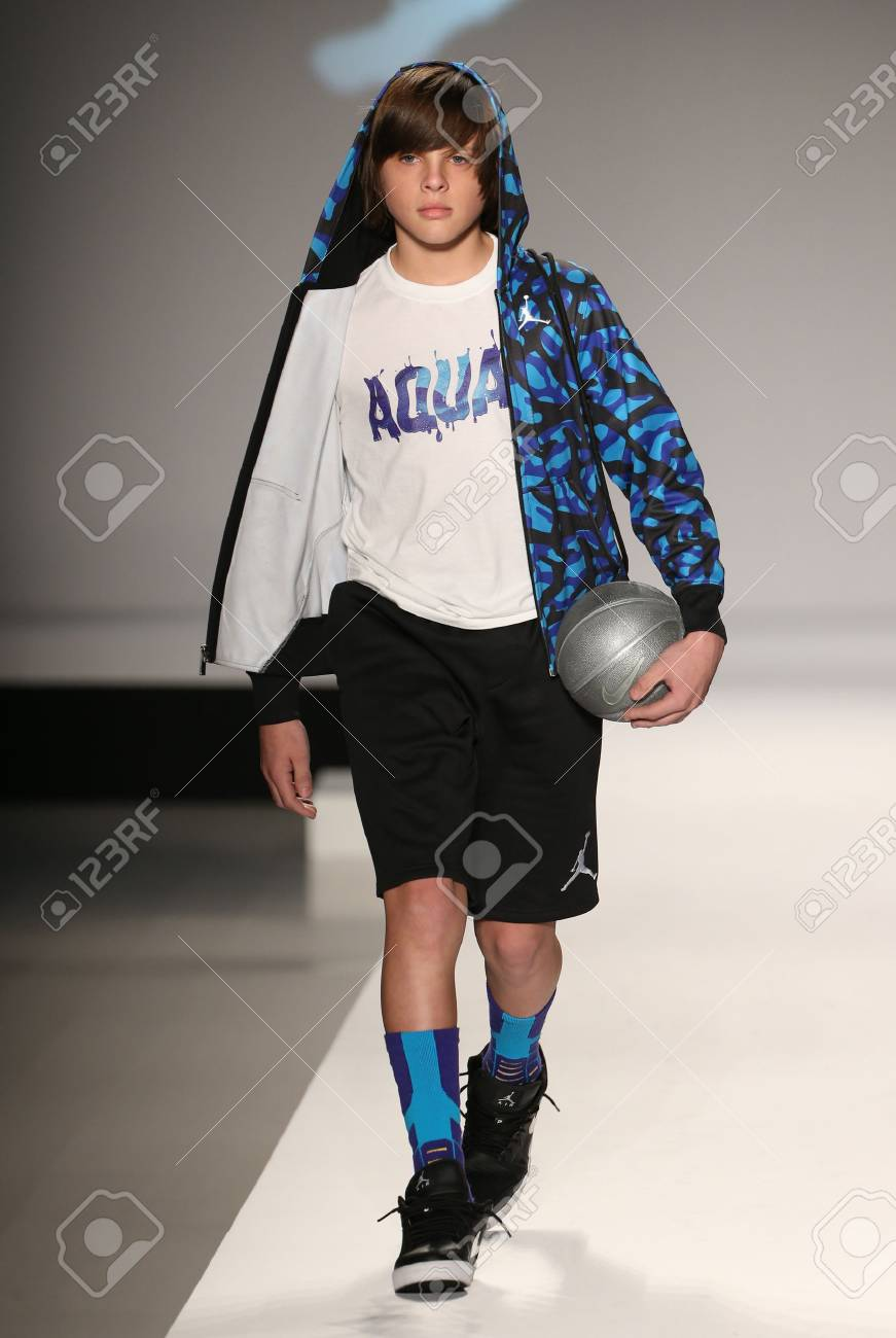 sale retailer c429b 0e735 NEW YORK, NY - FEBRUARY 12  Models walk the runway at the Nike Levi s Kids  fashion show during Mercedes-Benz Fashion Week Fall 2015 at Lincoln Center  on ...