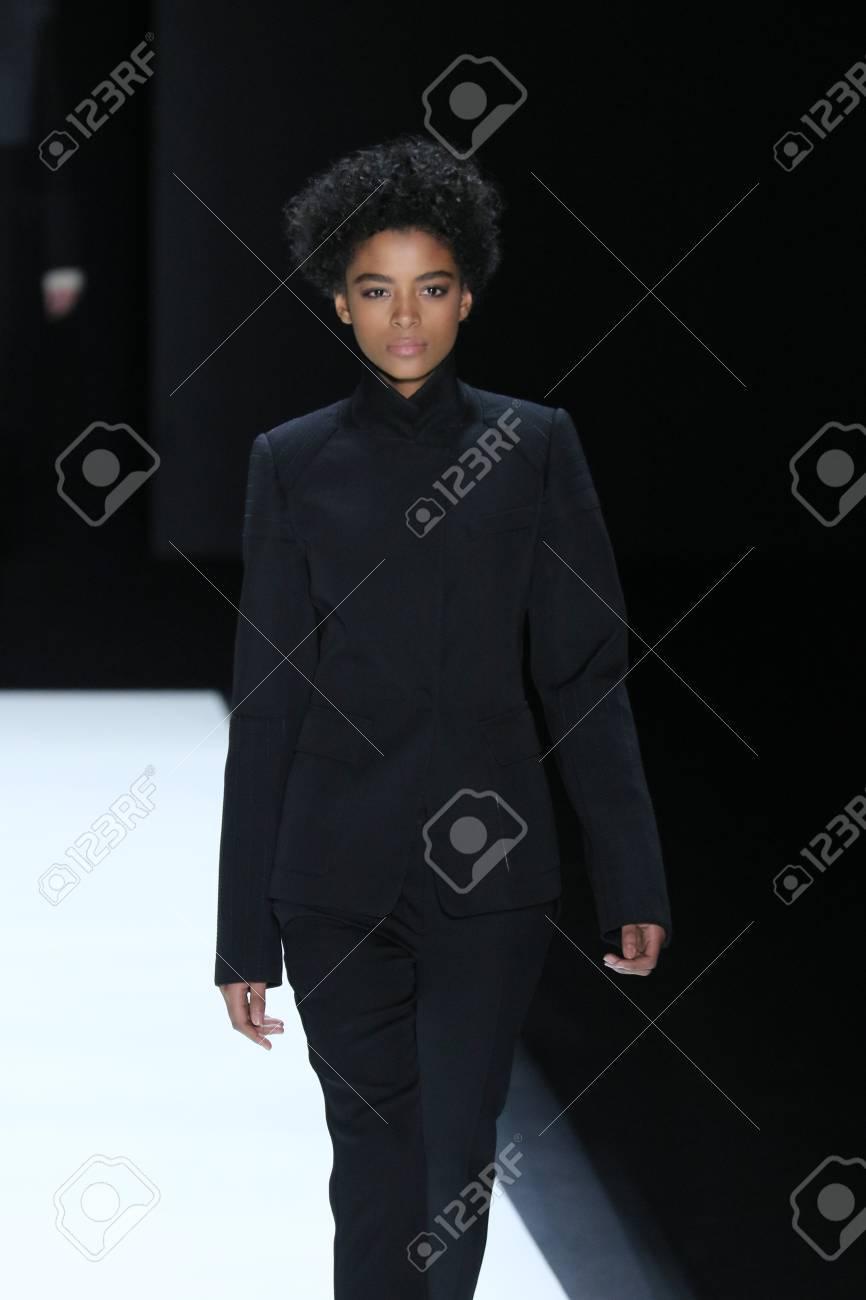 NEW YORK, NY - FEBRUARY 16: A model walks the runway wearing