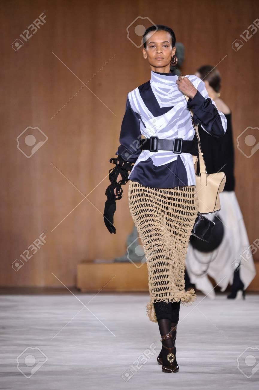 d0804fbfddd0 PARIS, FRANCE - MARCH 4: Model Liya Kebede walks runway at the Loewe show