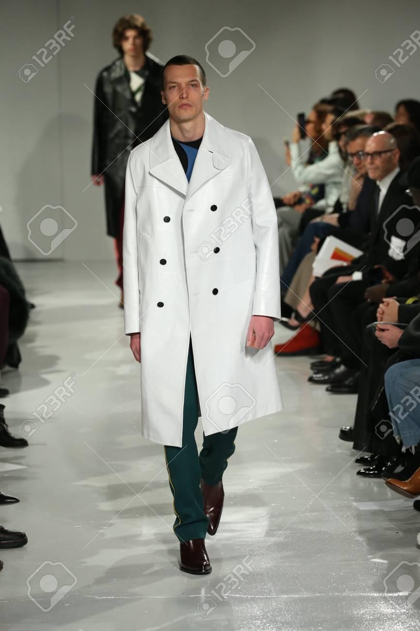 NEW YORK, NY FEBRUARY 10: A model walks the runway at the Calvin..