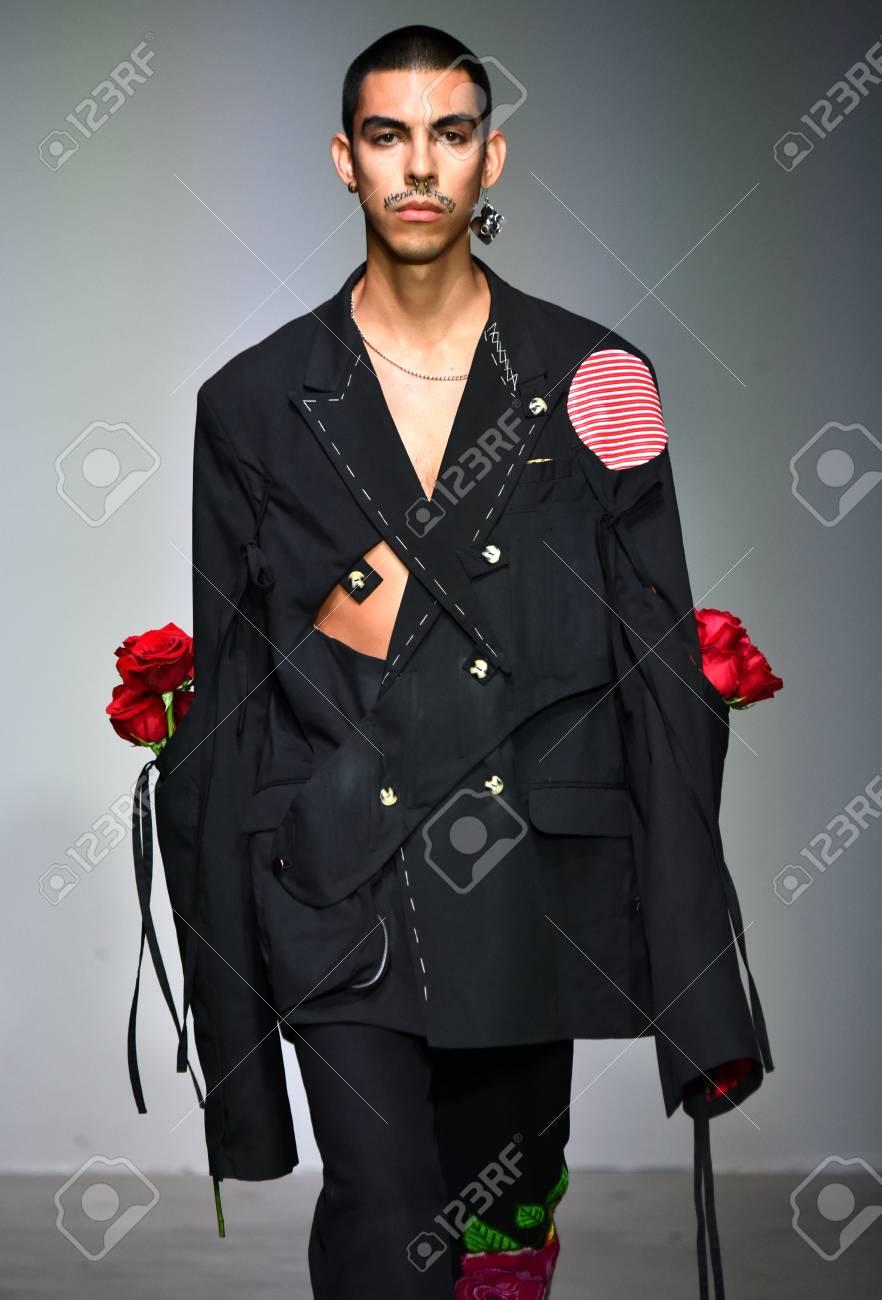 NEW YORK, NY - JULY 12: A model walks the runway at the Sanchez-Kane