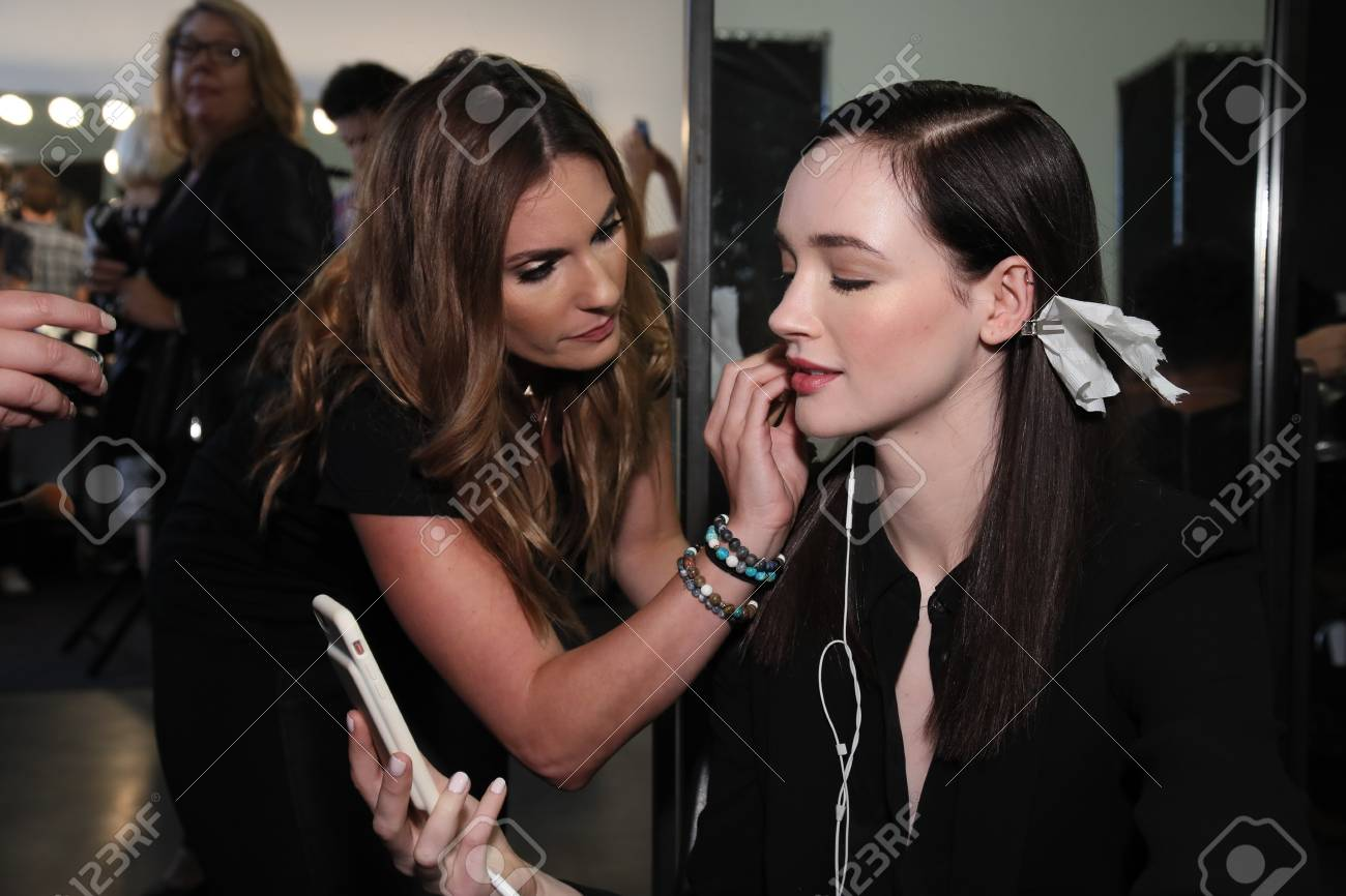 NEW YORK, NY - SEPTEMBER 06: A model getting ready backstage
