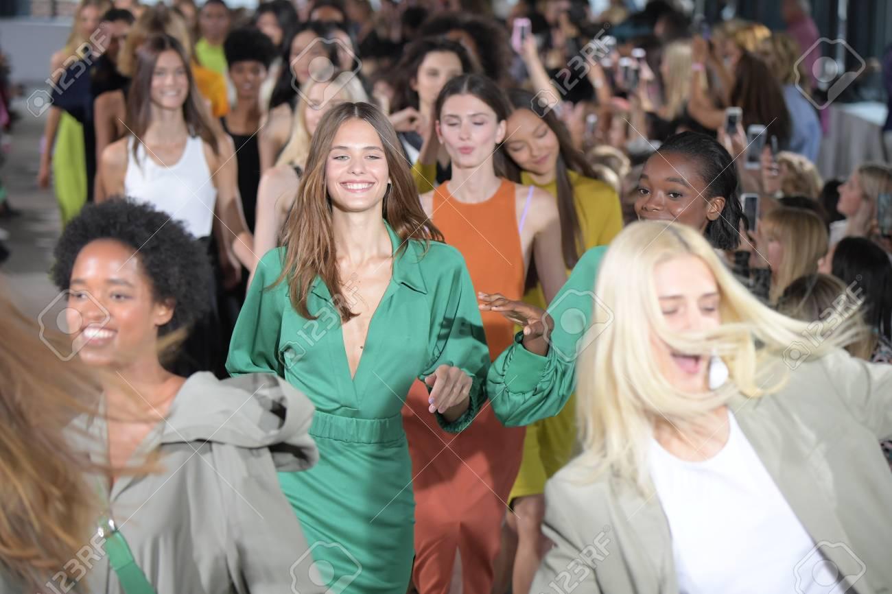 NEW YORK, NY - SEPTEMBER 09: Models walk the runway finale wearing Tibi  Spring