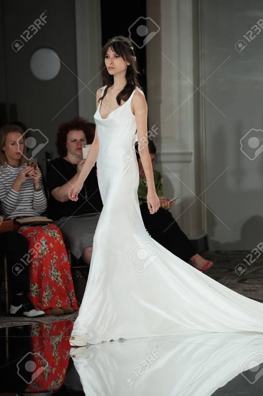 a53fffd8817 NEW YORK - OCTOBER 7  A model walks the runway for Pronovias Bridal show  Fall