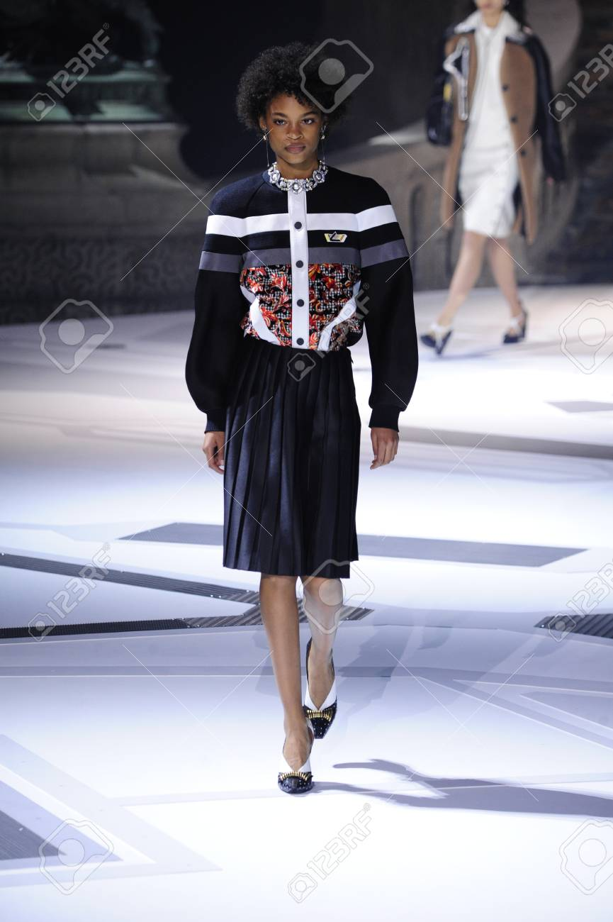 paris, france - march 06: a model walks the runway during the louis vuitton  show as part of the paris fashion week womenswear fall/winter 2018/2019 on