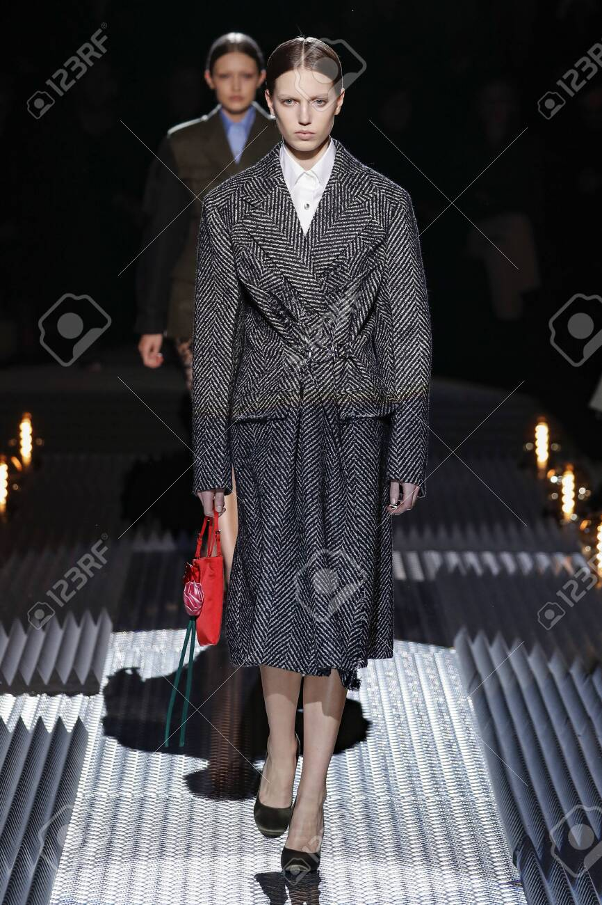 Milan Italy February 21 A Model Walks The Runway At The Prada Stock Photo Picture And Royalty Free Image Image 121729028