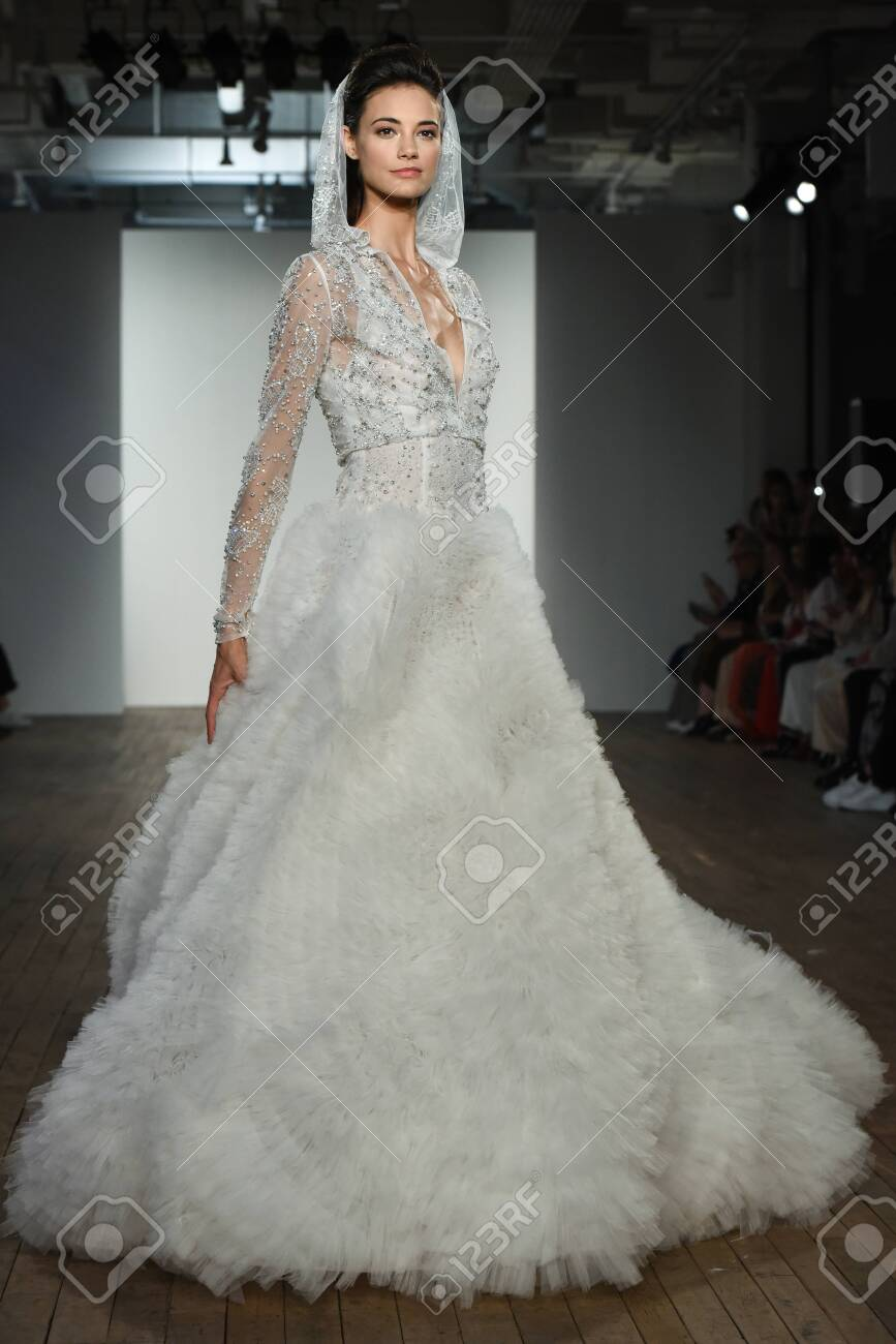 NEW YORK, NY - OCTOBER 4: A model walks the runway during the Allison Webb Fall 2020 Bridal Runway Show on OCTOBER 4, 2019 in New York City. - 139132274