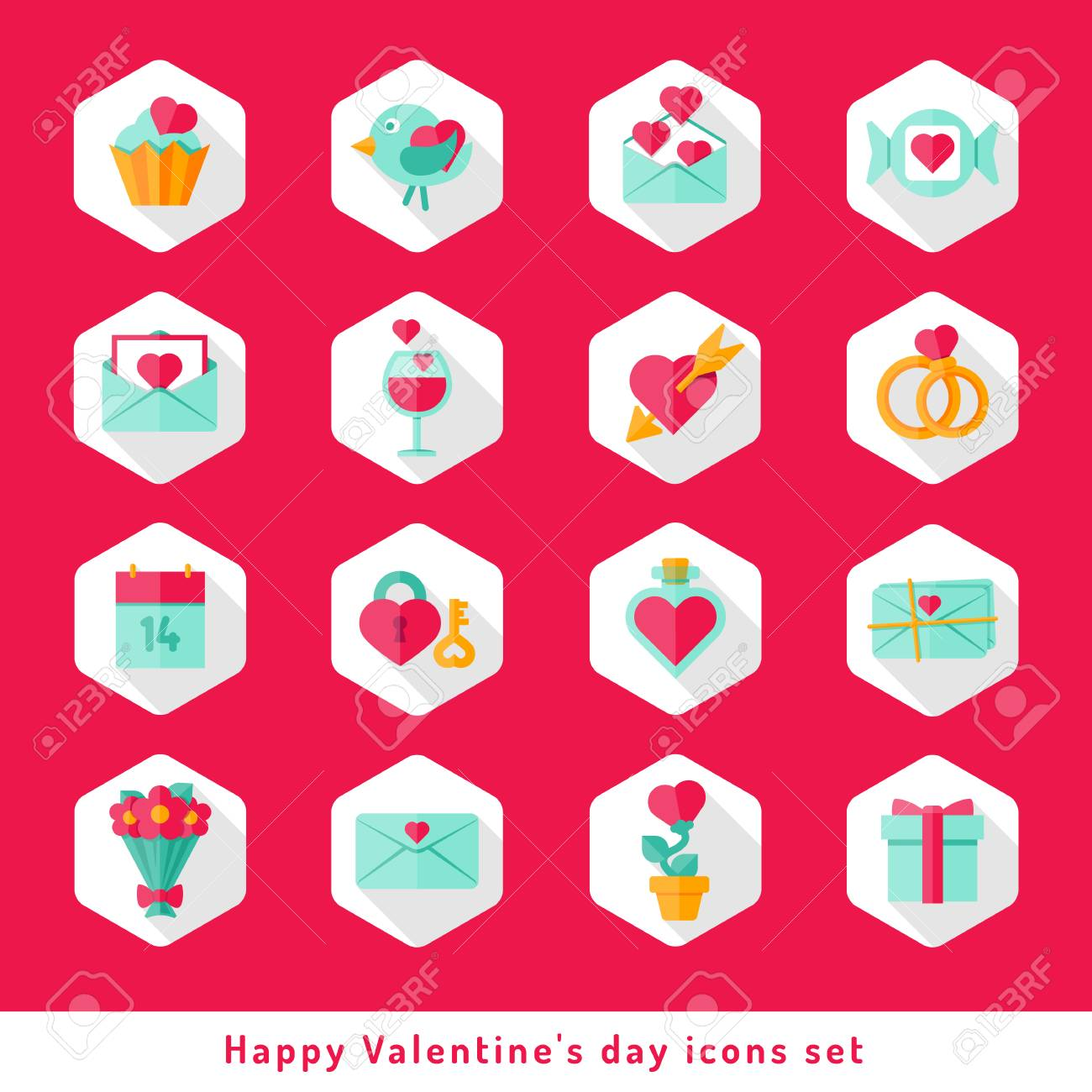 Happy Valentine Day Icons Set In Flat Minimalistic Style Royalty