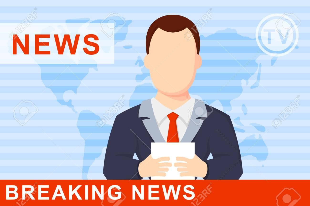 Anchorman On Tv Broadcast News A Globe Background Flat Vector Illustration